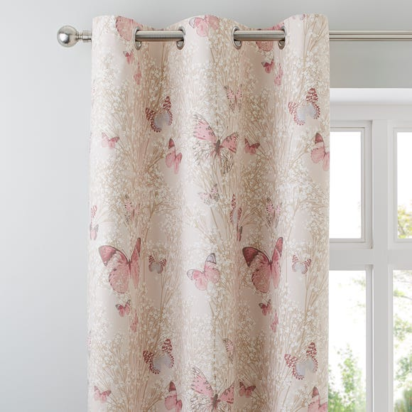 Botanica Butterfly Blush Thermal Eyelet Curtains Blush (Pink) undefined