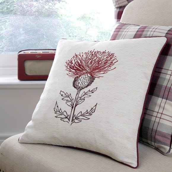 Balmoral Red Thistle Cushion Red
