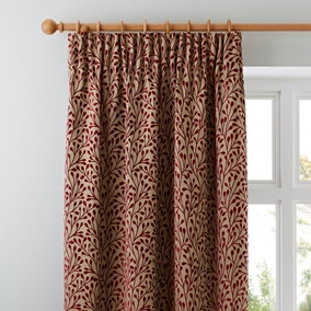 Willow Red Pencil Pleat Curtains