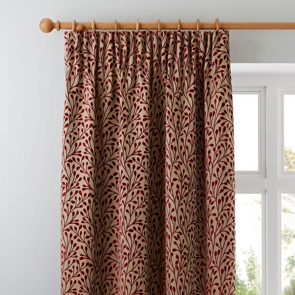 Willow Red Pencil Pleat Curtains  undefined