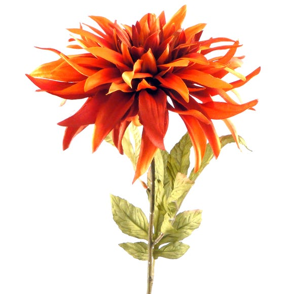 Artificial Dahlia Orange Single Stem 80cm Rust