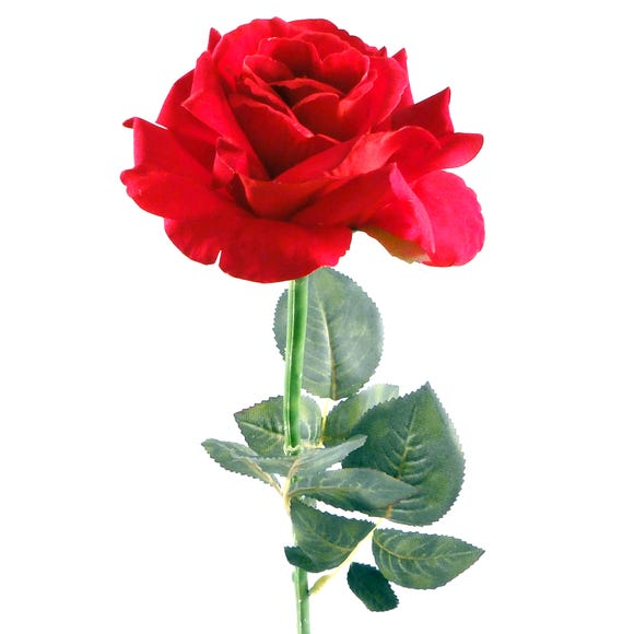 Artificial Rose Red Single Stem 62cm Red