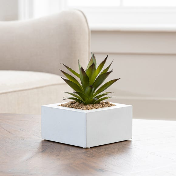 Artificial Succulent Green in White Pot 15cm Green