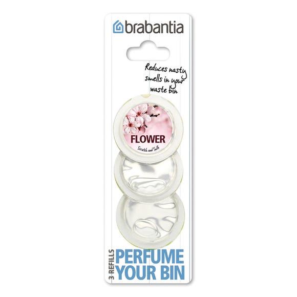 Brabantia Perfume Your Bin Pack of 3 Flower Scented Refills Clear
