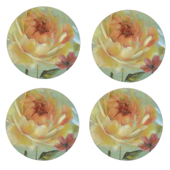 Flora and Fauna Set of 4 Round Floral Coasters Natural