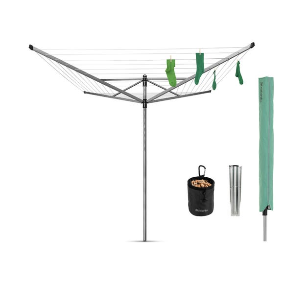 Brabantia 50 Metre 4 Arm Liftomatic Rotary Washing Line with Accessories Silver