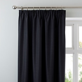 Nova Black Blackout Pencil Pleat Curtains