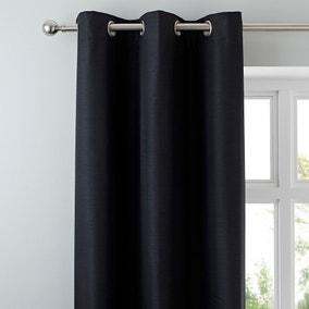 Nova Black Blackout Eyelet Curtains
