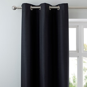 Nova Black Blackout Eyelet Curtains