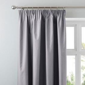 Nova Grey Blackout Pencil Pleat Curtains