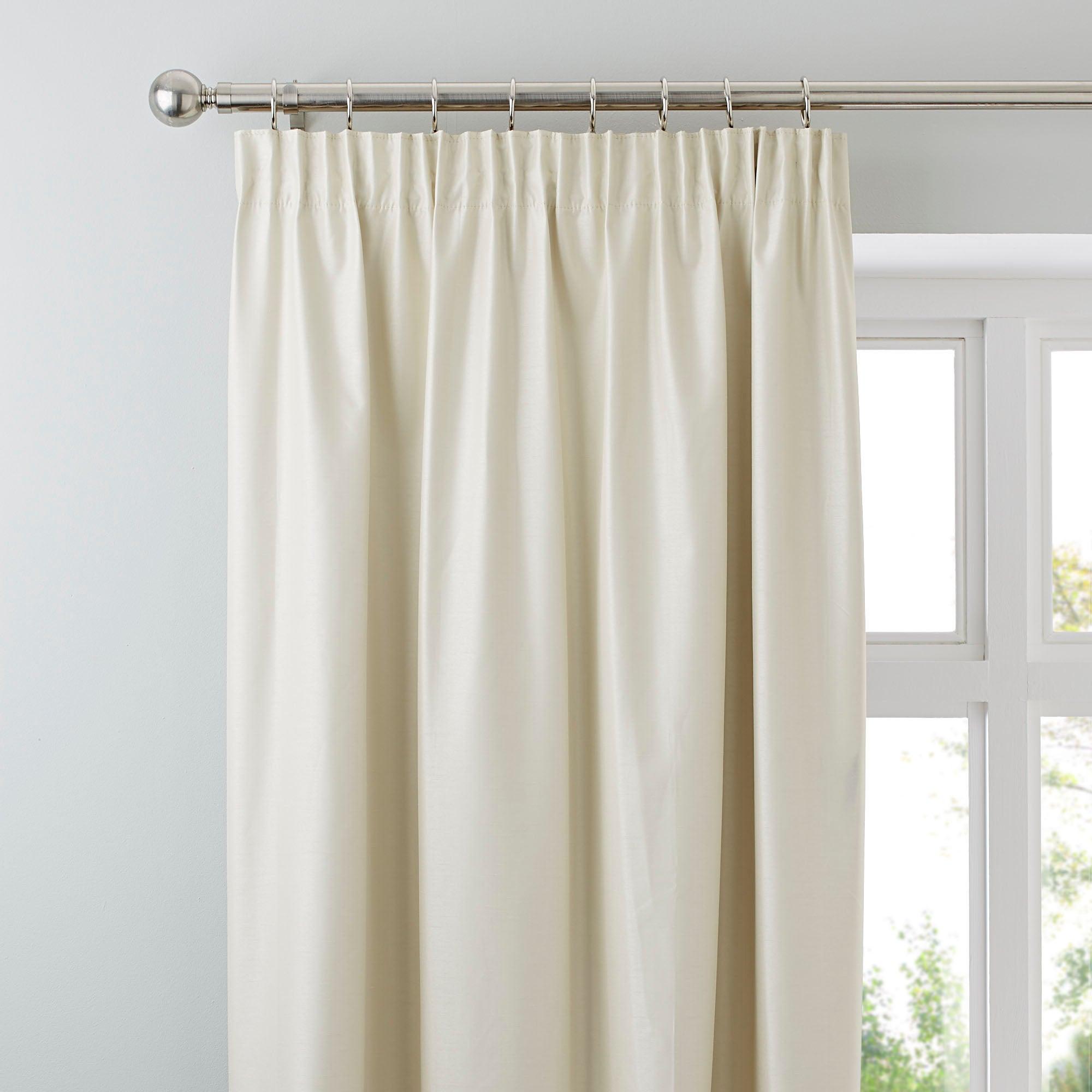 Photo of Nova natural blackout pencil pleat curtains light brown / natural