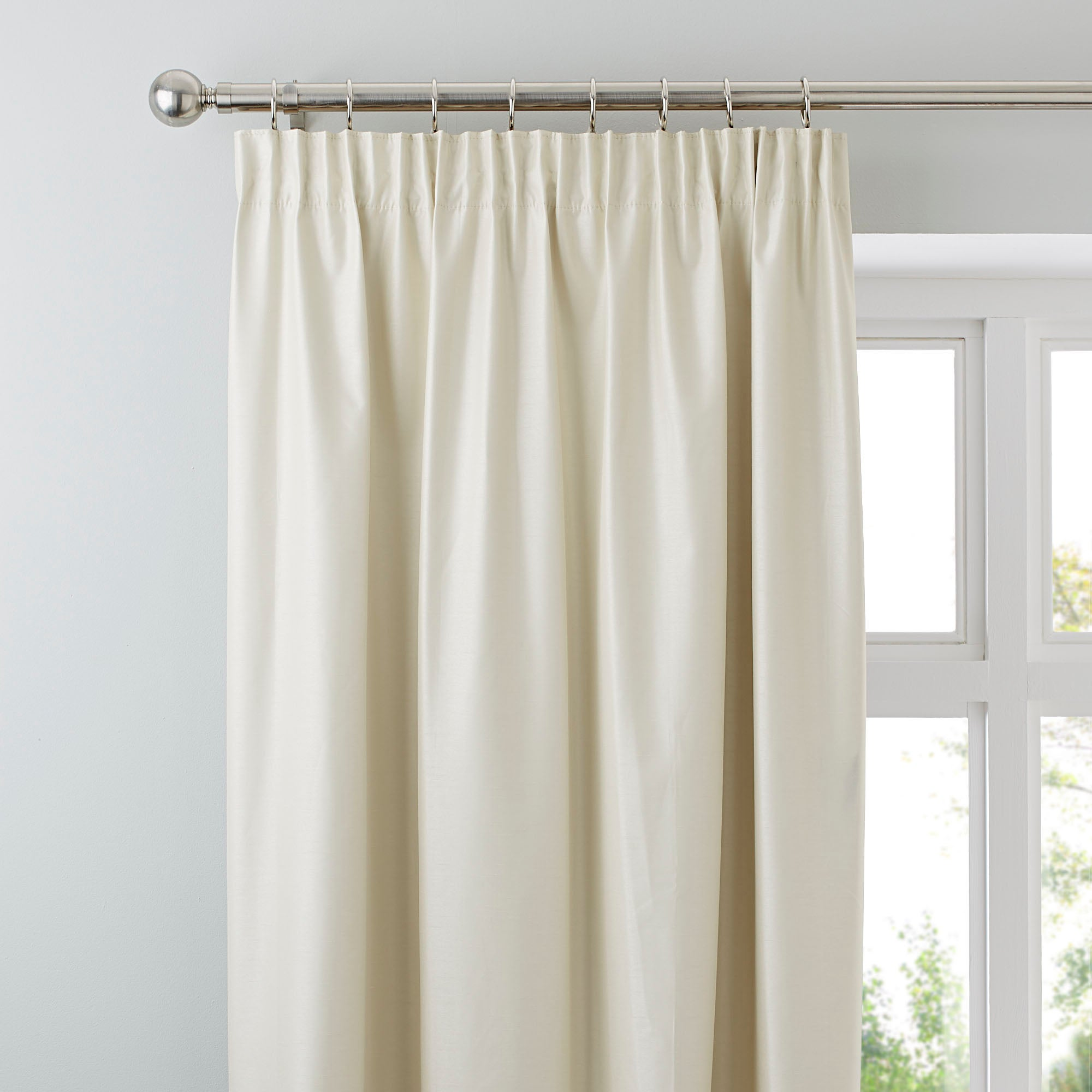 Photo of Nova natural blackout pencil pleat curtains light brown / natural