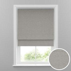 Cool Grey Linen Mix Blackout Roman Blind