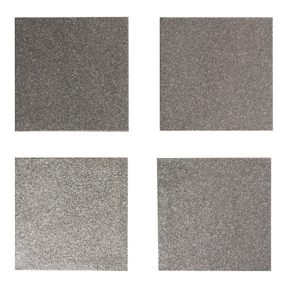 Set of 4 Glitter Coasters Silver