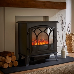 1850W Large Black Stove Effect Heater