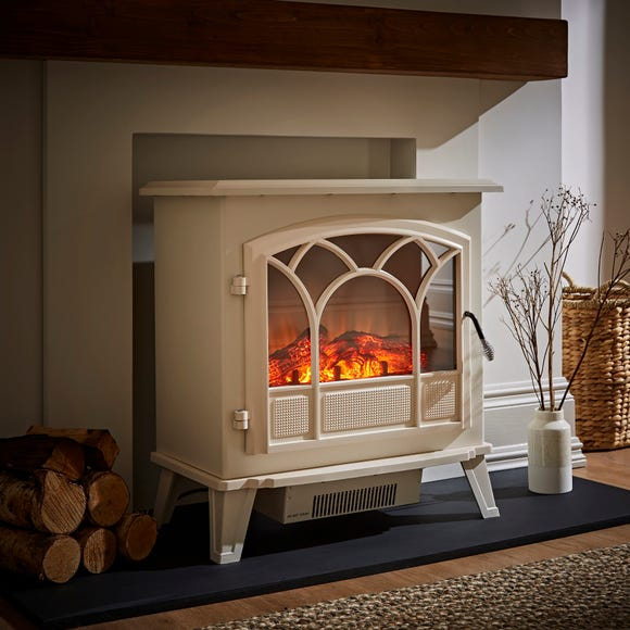 1850W Free-Standing Off-White Stove Effect Heater Off-White