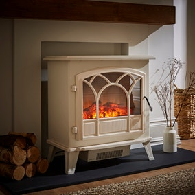 1850W Free-Standing Off-White Stove Effect Heater