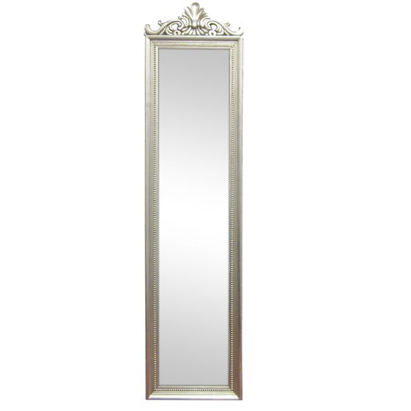 Ornate Cheval Full Length Mirror Silver