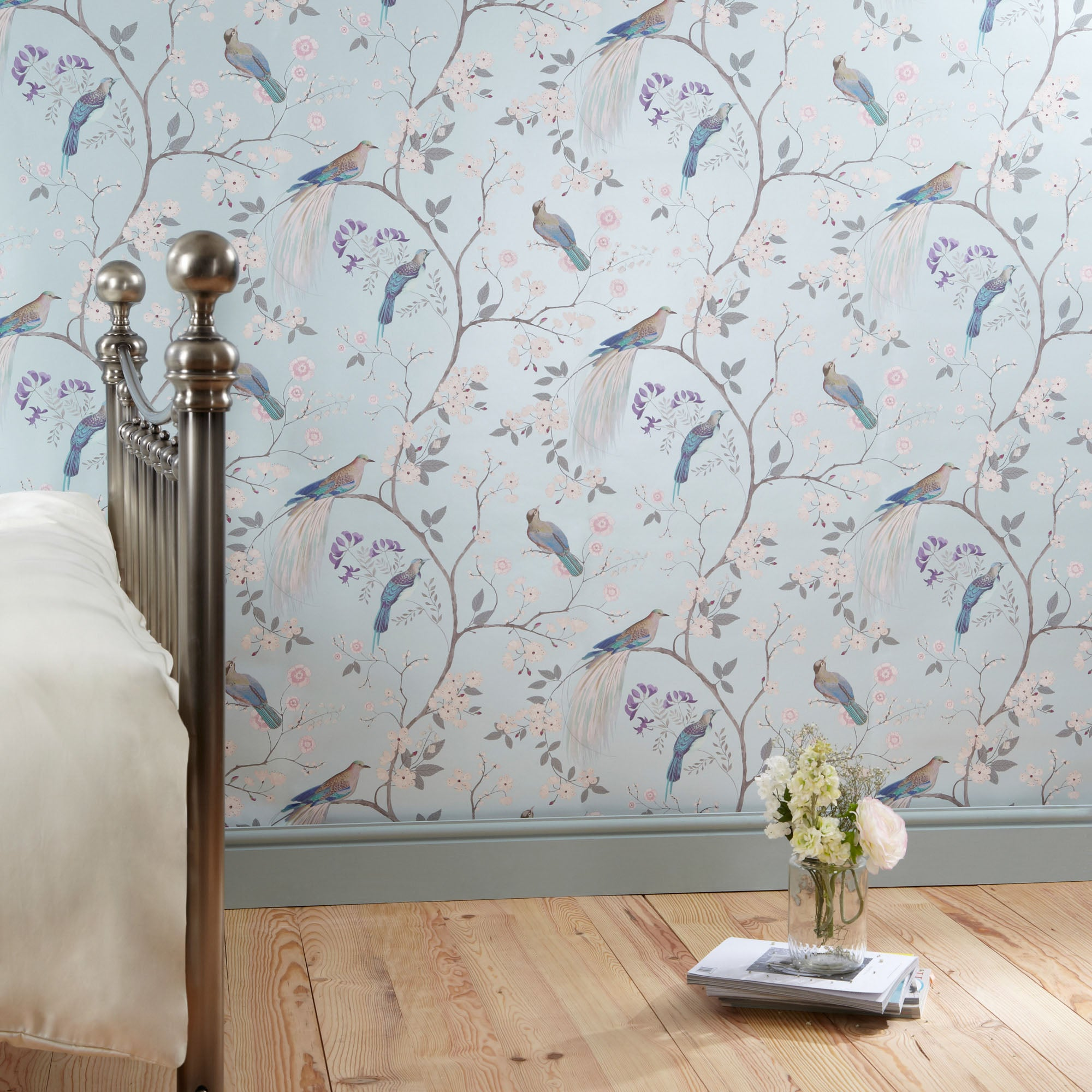 Click to view product details and reviews for Dorma Maiya Duck Egg Wallpaper Duck Egg Blue.