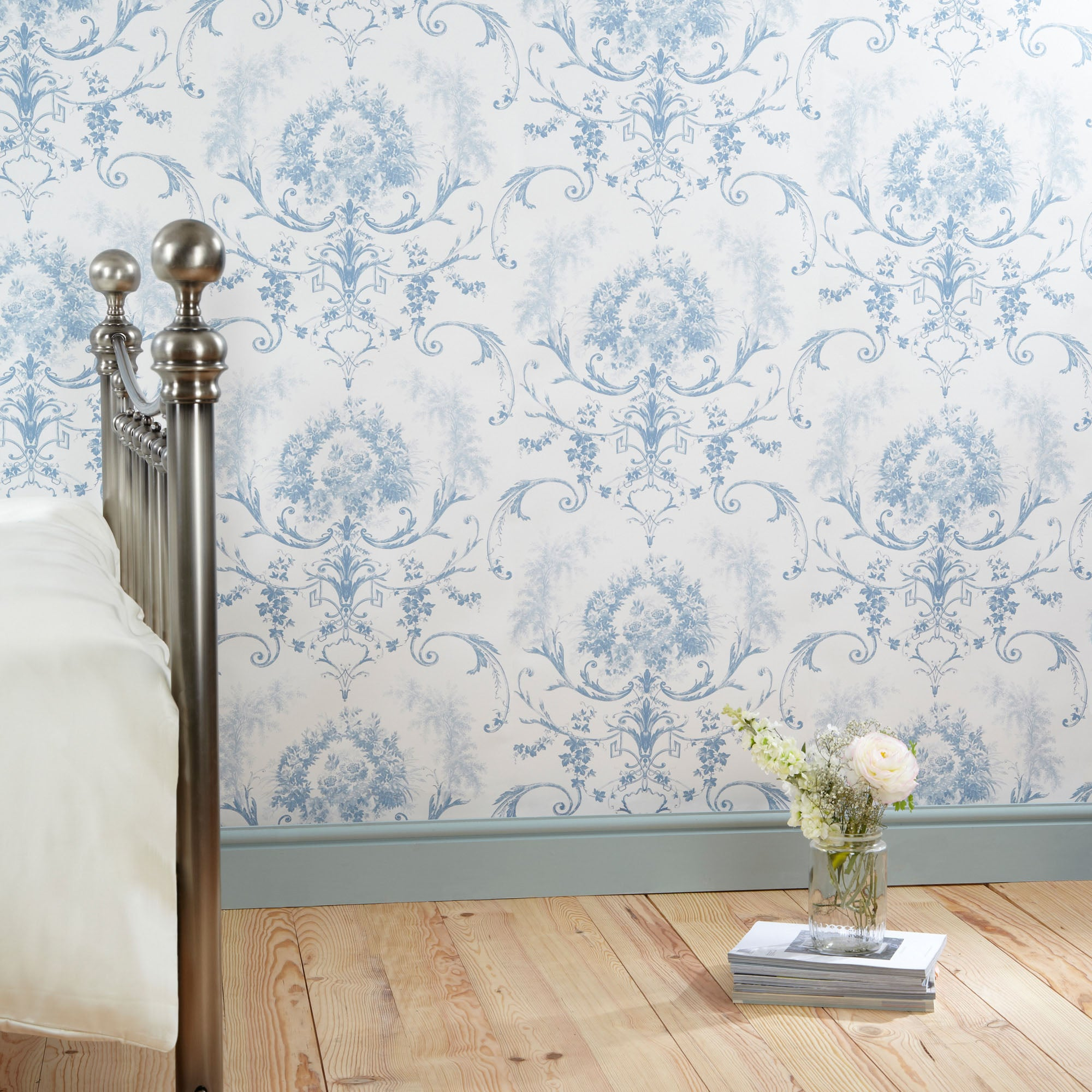 Click to view product details and reviews for Dorma Blue Toile Wallpaper Blue White.
