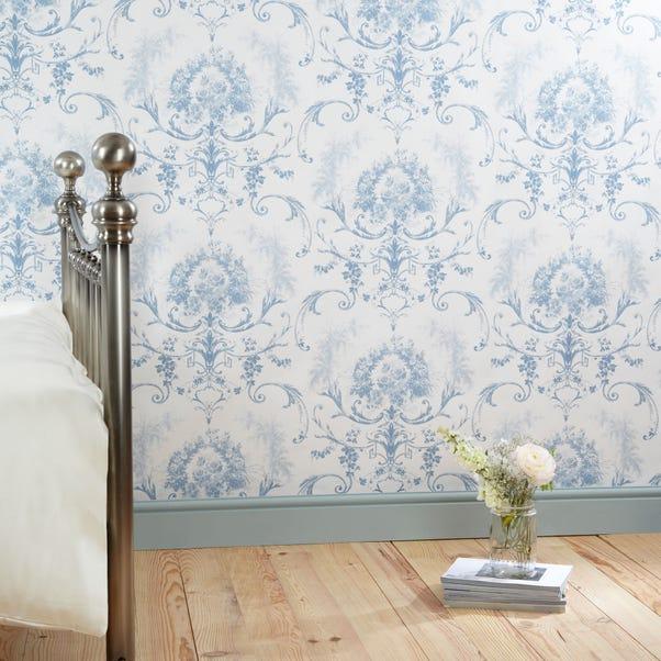 Dorma Blue Toile Wallpaper Blue