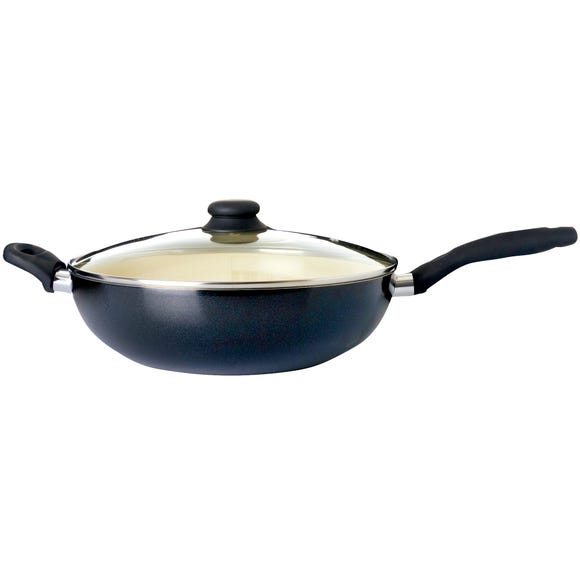 Dunelm Black Ceramic Lidded 32cm Wok Black