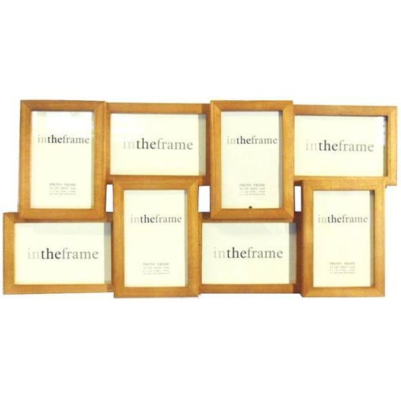 Natural Wood Eight Opening Photo Frame Brown