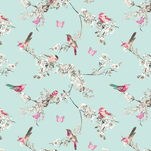 Beautiful Birds Duck-Egg Fabric Duck Egg