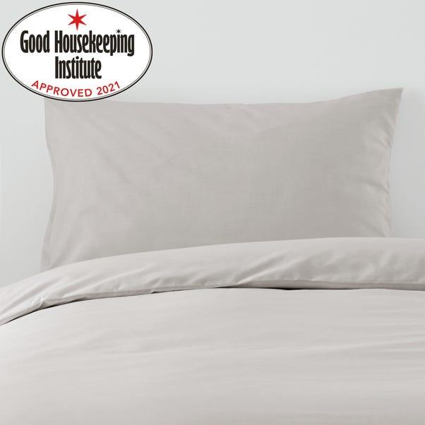 Non Iron Plain Dye Silver Housewife Pillowcase Pair