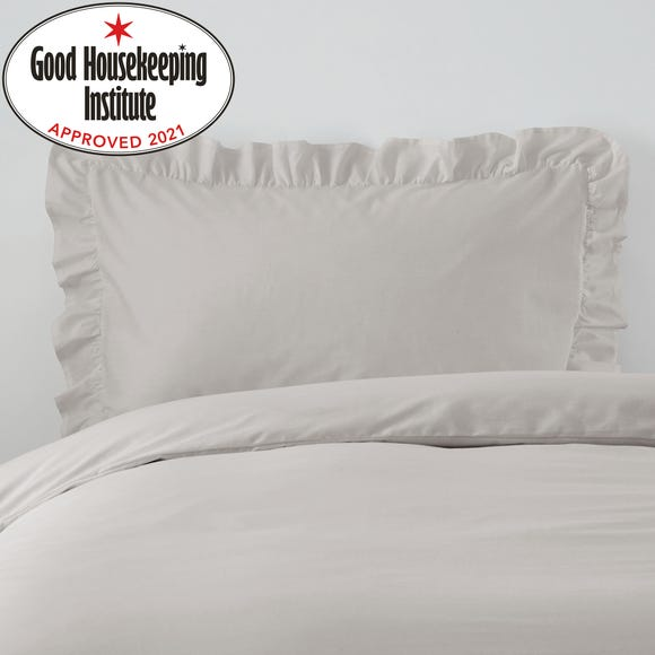 Non Iron Plain Dye Silver Frilled Pillowcase