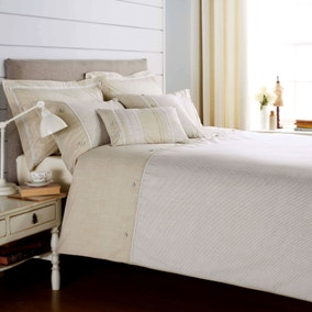 Millie Embroidered Natural Duvet Cover and Pillowcase Set