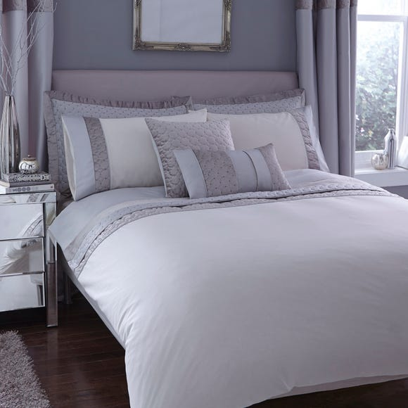 Vienna Embroidered Silver Duvet Cover Silver undefined