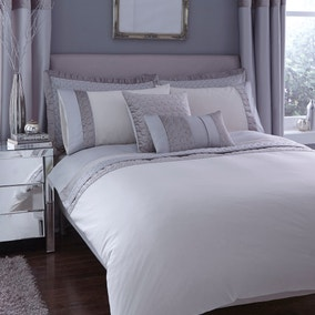 Vienna Embroidered Silver Duvet Cover