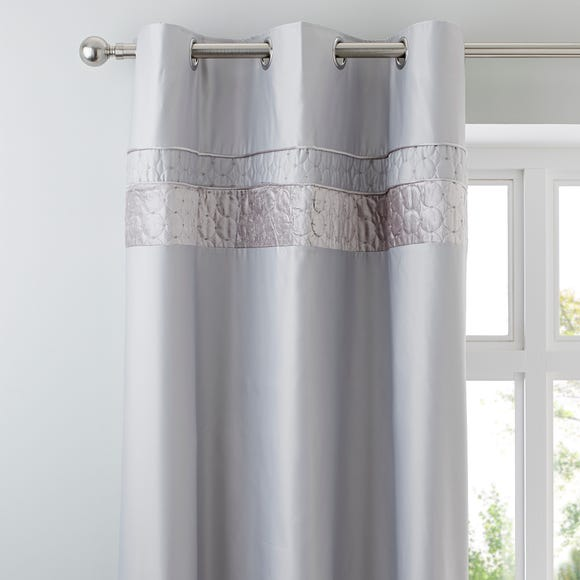 Vienna Silver Thermal Eyelet Curtains Silver undefined
