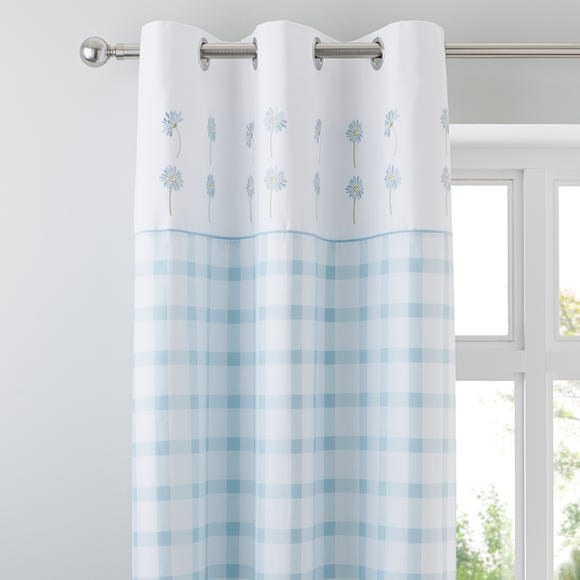 Daisy Duck-Egg Thermal Eyelet Curtains Duck Egg (Blue) undefined
