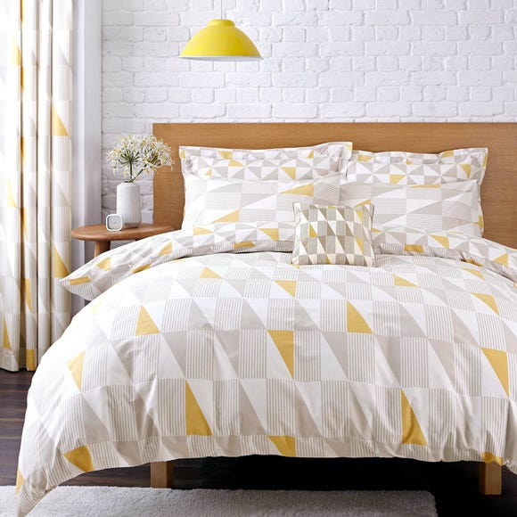 Elements Skandi Geometric Yellow Reversible Duvet Cover and Pillowcase Set Yellow undefined