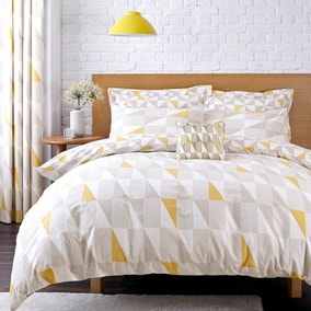 Elements Skandi Geometric Yellow Reversible Duvet Cover and Pillowcase Set