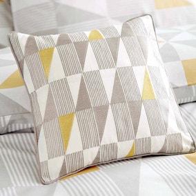 Skandi Geometric Yellow Square Cushion