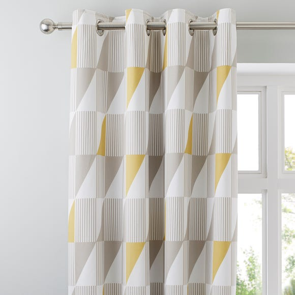 Skandi Geo Yellow Thermal Eyelet Curtains  undefined
