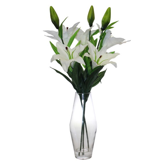 Artificial Lilies White in Glass Vase 68cm White