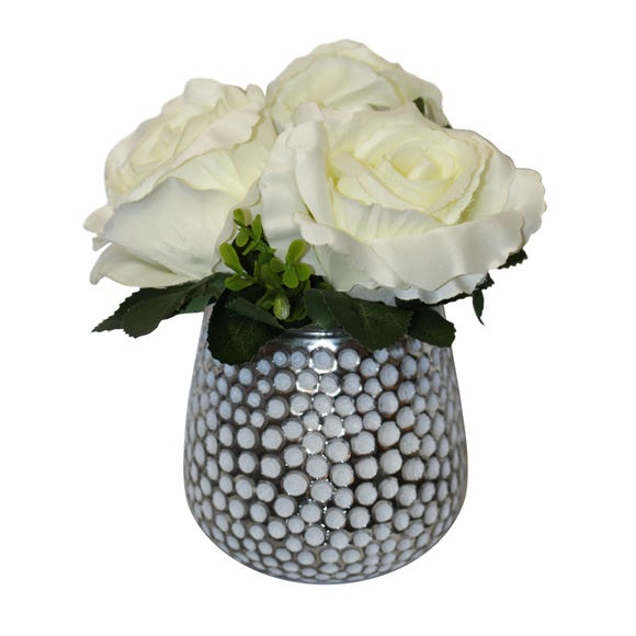 Artificial Carnations White in Dimpled Glass Vase 19cm White