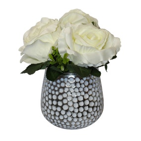 Artificial Carnations White in Dimpled Glass Vase 19cm