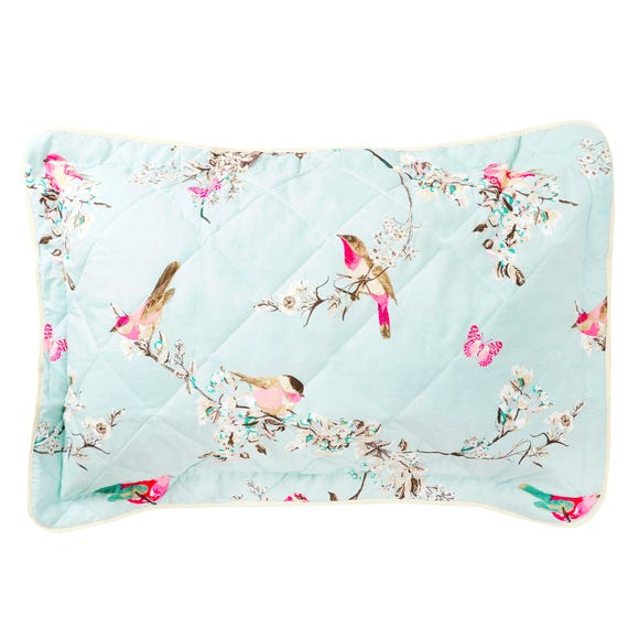 Beautiful Birds Duck-Egg Pillow Sham Duck Egg (Blue)