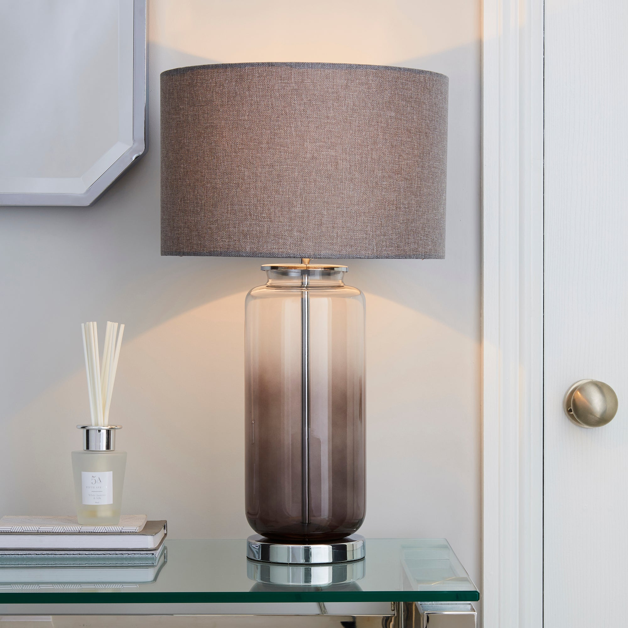 Large Ombre Glass Table Lamp Charcoal