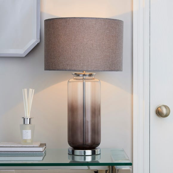 Large Ombre Glass Table Lamp Smoke (Grey)
