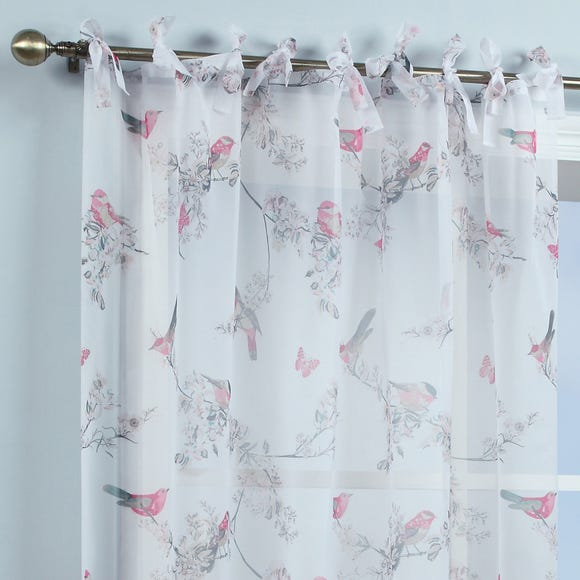 Beautiful Birds White Single Tab Top Voile Panel White undefined