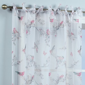 Beautiful Birds White Single Tab Top Voile Panel