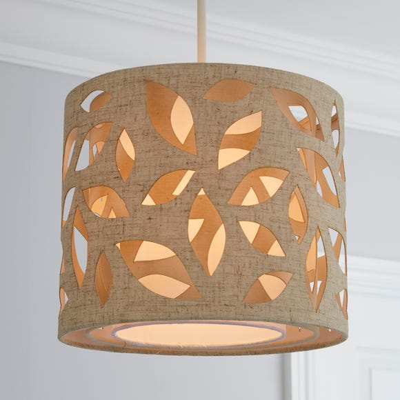 Botanical Leaf Cut Out 25cm Drum Natural Shade Cream