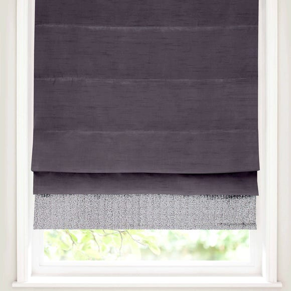 Silver Sequin Border Blackout Roman Blind Silver undefined
