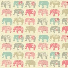Pastel Elephants Patterned Fabric